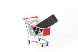 picture of caddy  - Caddy for shopping with smartphone on white background - JPG