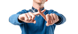 stock photo of nonverbal  - Man doing NO gesture over white background - JPG
