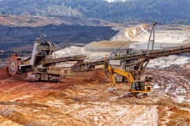 pic of open-pit mine  - Open coal mining pit with heavy machinery - JPG