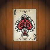 stock photo of ace spades  - Ace of spades poker cards old look varnished wood background - JPG