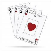 foto of ace spades  - Ace of spades ace of hearts ace of diamonds ace of clubs poker cards set isolated on white background - JPG