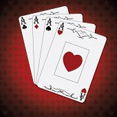 image of ace spades  - Ace of spades ace of hearts ace of diamonds ace of clubs poker cards set red white background - JPG