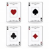 stock photo of ace spades  - Ace of spades ace of hearts ace of diamonds ace of clubs poker cards set isolated on white background - JPG