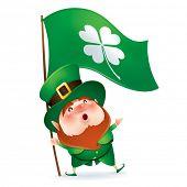 stock photo of leprechaun  - Leprechaun holding flag of clover symbol - JPG