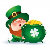 foto of pot gold  -  Leprechaun holding a pot of gold - JPG