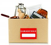 pic of yard sale  - Box of unwanted stuff ready for a garage sale - JPG
