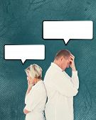 image of not talking  - Upset couple not talking to each other after fight against teal - JPG