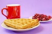 stock photo of violets  - Closeup of delicious waffle with red berries and coffee on violet background - JPG