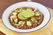 pic of tabouleh  - Red Quinoa Tabbouleh salad with juicy grilled chicken and cucumbers with chopped parsley - JPG