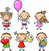 foto of life event  - Little kids with birthday party things - JPG