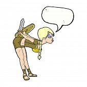 foto of valkyrie  - cartoon viking girl bowing with speech bubble - JPG