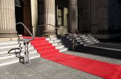 stock photo of front-entry  - Red carpet laid in front of a luxury hotel building - JPG