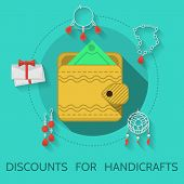 picture of handicrafts  - Handmade yellow wallet on blue icon with gray contour handmade items around - JPG
