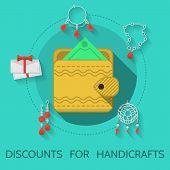 stock photo of handicrafts  - Handmade yellow wallet on blue icon with gray contour handmade items around - JPG