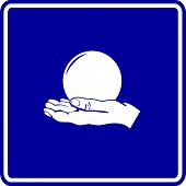 foto of seer  - hand holding a crystal ball sign - JPG