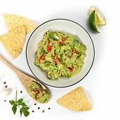 picture of dipping  - Guacamole dip on white background - JPG