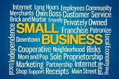 picture of patron  - Small Business word cloud on blue background - JPG