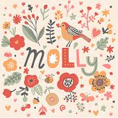 foto of molly  - Bright card with beautiful name Molly in poppy flowers - JPG