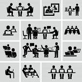 picture of coworkers  - Coworkers vector pictogram figures  - JPG
