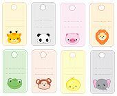 stock photo of cute animal face  - Colorful printable gift tags  - JPG