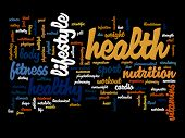 picture of medical  - Concept or conceptual abstract word cloud on black background as metaphor for health - JPG