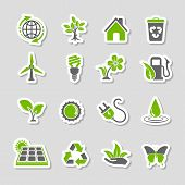 foto of solar battery  - Collect Environment Icons Sticker Set with Tree Leaf Light Bulb Recycling Symbol - JPG