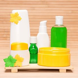 pic of cosmetic products  - Different cosmetic products for body care - JPG