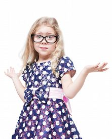 picture of confusing  - Beautiful little girl in glasses confused isolated over white background - JPG