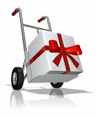 stock photo of fedex  - rendered hand truck with the gift in the box - JPG