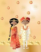 stock photo of salwar  - an illustration of an asian wedding with a man and woman dressed in saree and salwar kameez with intricate designs on a gold background - JPG
