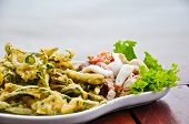 Thai food - Seafood Spicy salad with fried vegetable poster