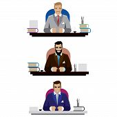 stock photo of ironbound  - Vector illustration on white background featuring set of three bosses - JPG