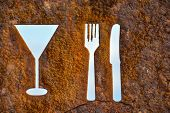 pic of oxidation  - Classic Vintage Old Rusty Oxidated Restaurant Sign With Fork and Knife - JPG