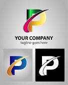 stock photo of letter p  - Abstract icon logo for letter P design - JPG