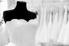 pic of dress mannequin  - Beautiful wedding dress on a mannequin at a wedding fair  - JPG