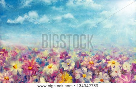 poster of Flowers field at sunrise. Flower oil painting background. Landscape of multicolored flowers. Impressionist oil painting flowers.