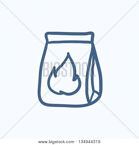 Постер, плакат: Take away meals package vector sketch icon isolated on background Hand drawn Take away meals packag, холст на подрамнике