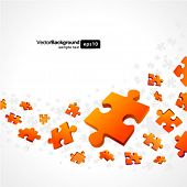 3d orange puzzle piece vector background