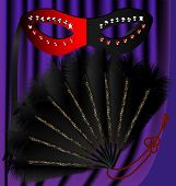 image of mummer  - against the backdrop of a purple curtain black and red half mask decorated with sequins and a black feather fan with a gold pattern - JPG