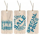 Set of crumpled paper tags for sale, discount