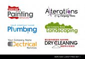 Set of logos logotypes for various services. plumbing, electrical, alterations, landscaping, paintin poster