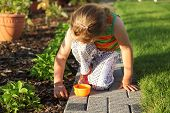 Child Helping In Garden