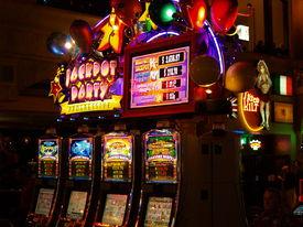 stock photo of slot-machine  - angle view of a slot machine casino - JPG