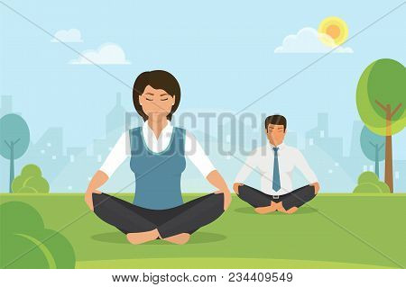 poster of Flat Vector Illustration Of Calm Woman And Man Doing Meditation In The Lotus Position In The Park On