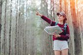Asia Woman Travel With Backpack At Forest Looking Map The Route Go To Destination, Girl Traveler Doi poster