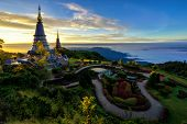 Sunrise Scence Of Two Pagoda On The Top Of Inthanon Mountain In Doi Inthanon National Park, Chiang M poster