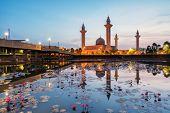 Sunrise Scene Of Majestic Jelutong Mosque Or Masjid Tengku Ampuan Jemaah With Reflection At Kuala Lu poster