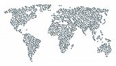 Global World Collage Map Composed Of Discount Tag Items. Vector Discount Tag Scatter Flat Pictograms poster