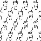Cute Cartoon Drink Pattern With Hand Drawn Drink. Sweet Vector Black And White Drink Pattern. Seamle poster