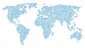 International Collage Map Composed Of Fingerprint Pictograms. Vector Fingerprint Scatter Flat Elemen poster